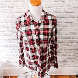 J.Crew | perfect fit flannel red white and green